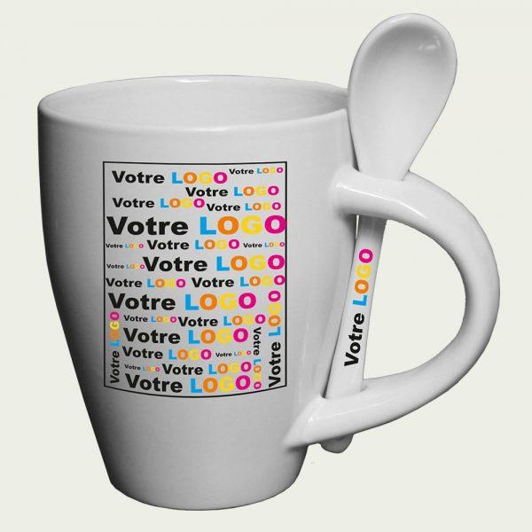 mug publicitaire conique avec cuillère
