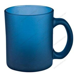 mug verre marqué givré bleu