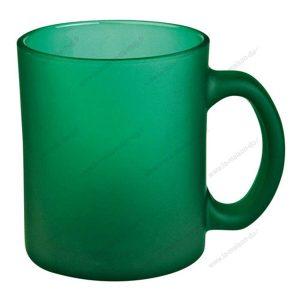 mug verre marqué givré vert
