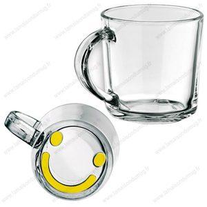 Mug verre marqué Smiley jaune