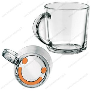 Mug verre marqué Smiley orange