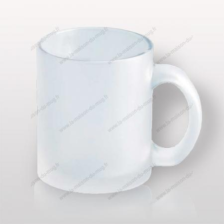 mug verre marqué givré blanc