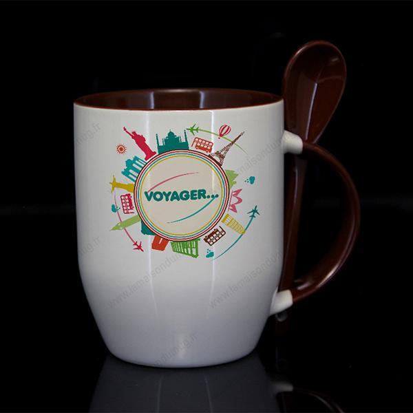 mug personnalisé subcouleur marron