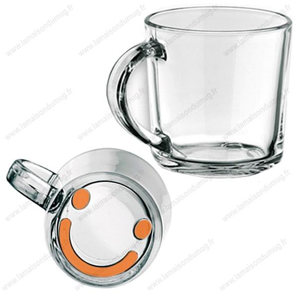 Mug verre marqué Smiley orange
