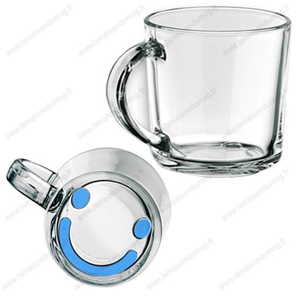 Mug verre marqué Smiley bleu
