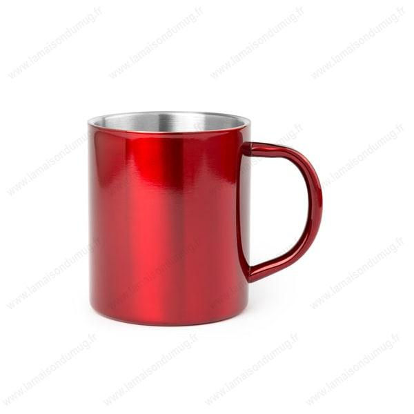 mug métal personnalisé rouge