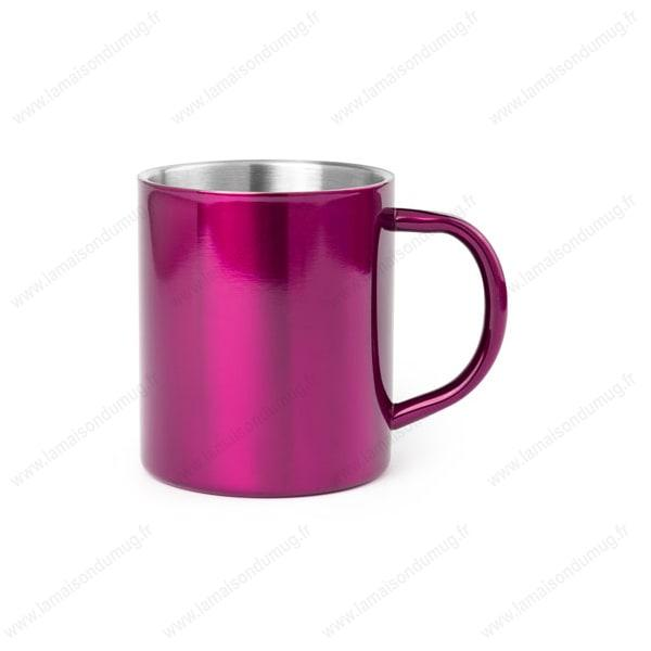 mug métal personnalisé rose