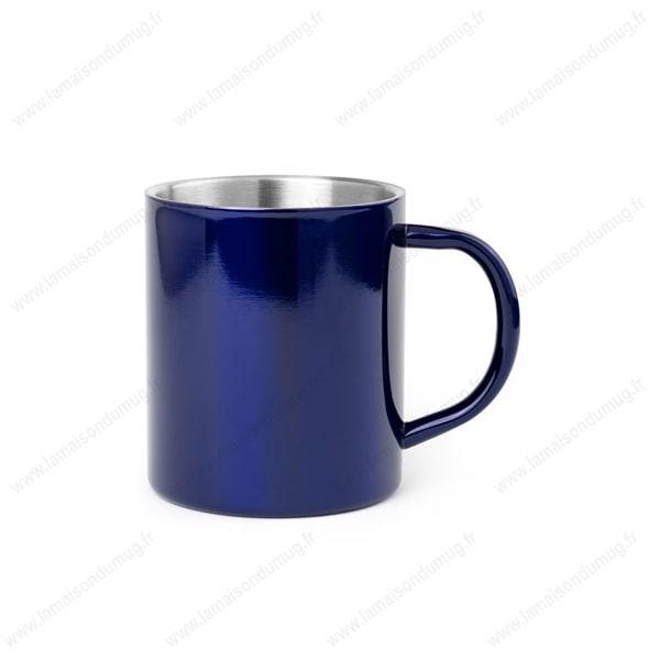mug métal personnalisé bleu